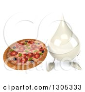 Clipart Of A 3d Milk Lotion Shampoo Or Liquid Soap Drop Character Holding Up A Pizza Royalty Free Illustration