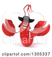 Clipart Of A 3d Happy Breton Lobster Welcoming 2 Royalty Free Illustration by Julos