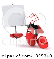 Clipart Of A 3d Happy Breton Lobster Holding And Looking Up At A Blank Sign Royalty Free Illustration by Julos