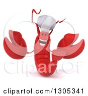 Clipart Of A 3d Red Chef Lobster Welcoming Royalty Free Illustration by Julos