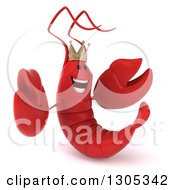 Clipart Of A 3d Happy Lobster King Facing Slightly Right And Welcoming Royalty Free Illustration by Julos