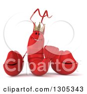 Clipart Of A 3d Happy Lobster King Royalty Free Illustration by Julos