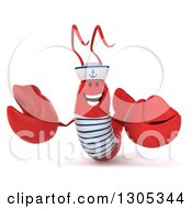 Clipart Of A 3d Happy Sailor Lobster Presenting Royalty Free Illustration by Julos