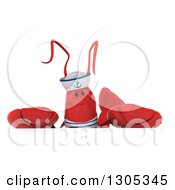 Clipart Of A 3d Sailor Lobster Over A Sign Royalty Free Illustration by Julos