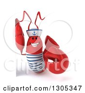Clipart Of A 3d Happy Sailor Lobster Pointing Around A Sign Royalty Free Illustration by Julos