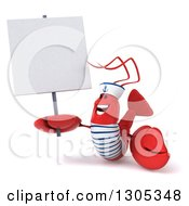 Clipart Of A 3d Happy Sailor Lobster Holding Up And Looking At A Blank Sign Royalty Free Illustration by Julos