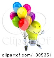 Clipart Of A 3d Happy Yellow Light Bulb Character Facing Slightly Right And Jumping With Party Balloons Royalty Free Illustration
