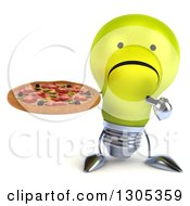 Clipart Of A 3d Unhappy Yellow Light Bulb Character Holding And Pointing To A Pizza Royalty Free Illustration