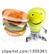 Clipart Of A 3d Happy Yellow Light Bulb Character Holding Up A Double Cheeseburger Royalty Free Illustration