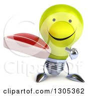 Clipart Of A 3d Happy Yellow Light Bulb Character Holding And Pointing To A Beef Steak Royalty Free Illustration