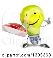 Clipart Of A 3d Happy Yellow Light Bulb Character Holding Up A Finger And A Beef Steak Royalty Free Illustration