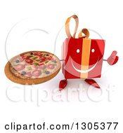 Clipart Of A 3d Happy Red Gift Character Holding Up A Thumb And A Pizza Royalty Free Illustration
