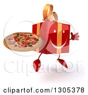 Clipart Of A 3d Happy Red Gift Character Facing Slightly Right Jumping And Holding A Pizza Royalty Free Illustration
