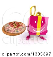 Clipart Of A 3d Happy Pink Gift Character Holding Up A Pizza Royalty Free Illustration