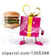 Clipart Of A 3d Happy Pink Gift Character Holding A Double Cheeseburger Royalty Free Illustration