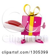 Clipart Of A 3d Happy Pink Gift Character Holding A Beef Steak And Thumb Up Royalty Free Illustration