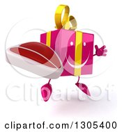 Clipart Of A 3d Happy Pink Gift Character Facing Slightly Right Jumping And Holding A Beef Steak Royalty Free Illustration