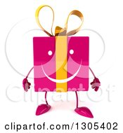 Clipart Of A 3d Happy Pink Gift Character Royalty Free Illustration