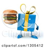 Clipart Of A 3d Happy Blue Gift Character Holding A Double Cheeseburger Royalty Free Illustration