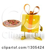 Clipart Of A 3d Happy Yellow Gift Character Holding A Pizza Royalty Free Illustration