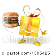 Clipart Of A 3d Happy Yellow Gift Character Shrugging And Holding A Double Cheeseburger Royalty Free Illustration