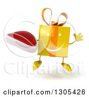 Clipart Of A 3d Happy Yellow Gift Character Jumping And Holding A Beef Steak Royalty Free Illustration