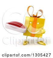 Clipart Of A 3d Happy Yellow Gift Character Holding And Pointing To A Beef Steak Royalty Free Illustration