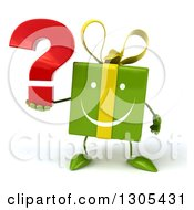 Clipart Of A 3d Happy Green Gift Character Holding A Question Mark Royalty Free Illustration