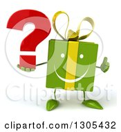 Clipart Of A 3d Happy Green Gift Character Holding A Thumb Up And A Question Mark Royalty Free Illustration