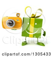 Clipart Of A 3d Happy Green Gift Character Holding A Camera Royalty Free Illustration