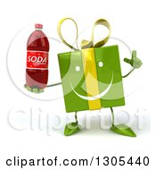 Clipart Of A 3d Happy Green Gift Character Holding Up A Finger And A Soda Bottle Royalty Free Illustration