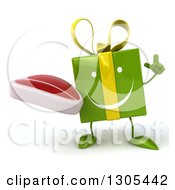 Clipart Of A 3d Happy Green Gift Character Holding Up A Finger And A Beef Steak Royalty Free Illustration
