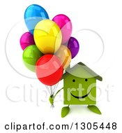 Clipart Of A 3d Happy Green Home Character Holding Up Party Balloons Royalty Free Illustration