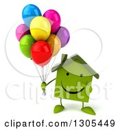 Clipart Of A 3d Happy Green Home Character Holding And Pointing To Party Balloons Royalty Free Illustration