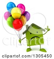 Clipart Of A 3d Unhappy Green Home Character Holding Up A Finger And Party Balloons Royalty Free Illustration