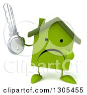 Clipart Of A 3d Unhappy Green Home Character Holding And Pointing To A Key Royalty Free Illustration