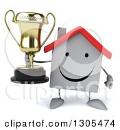 Clipart Of A 3d Happy White House Character Holding A Trophy Royalty Free Illustration