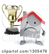 Clipart Of A 3d Unhappy White House Character Holding A Trophy Royalty Free Illustration