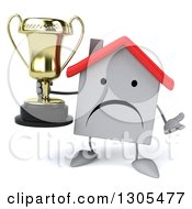 Clipart Of A 3d Unhappy White House Character Shrugging And Holding A Trophy Royalty Free Illustration