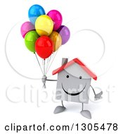 Clipart Of A 3d Happy White House Character Shrugging And Holding Party Balloons Royalty Free Illustration