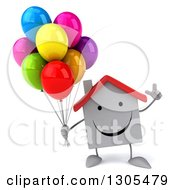Clipart Of A 3d Happy White House Character Holding Up A Finger And Party Balloons Royalty Free Illustration