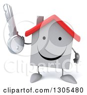 Clipart Of A 3d Happy White House Character Holding A Key Royalty Free Illustration
