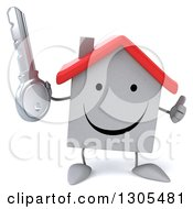 Clipart Of A 3d Happy White House Character Holding A Key And Thumb Up Royalty Free Illustration