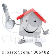 Clipart Of A 3d Happy White House Character Shrugging And Holding A Key Royalty Free Illustration