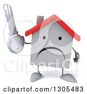 Clipart Of A 3d Unhappy White House Character Holding A Key Royalty Free Illustration