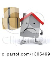 Clipart Of A 3d Unhappy White House Character Holding Boxes Royalty Free Illustration
