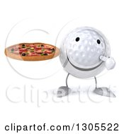 Clipart Of A 3d Happy Golf Ball Character Holding And Pointing To A Pizza Royalty Free Illustration