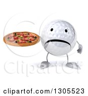 Clipart Of A 3d Unhappy Golf Ball Character Holding A Pizza Royalty Free Illustration