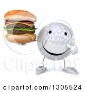 Clipart Of A 3d Happy Golf Ball Character Holding And Pointing To A Double Cheeseburger Royalty Free Illustration