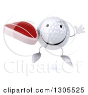 Clipart Of A 3d Happy Golf Ball Character Jumping And Holding A Beef Steak Royalty Free Illustration